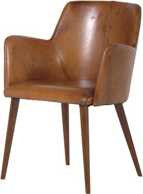 Italian Brown Leather Carver Office Chair