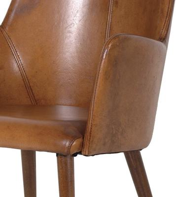 Italian Brown Leather Carver Office Chair image 2