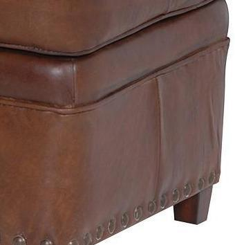 Vintage Brown Leather Footstool image 2