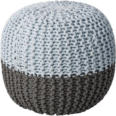 Bloomingville Knitted Pouf Grey and Cool Blue
