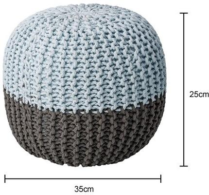 Bloomingville Knitted Pouf Grey and Cool Blue image 2