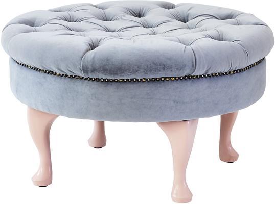 Round Footstool Green Velvet Upholstery image 5