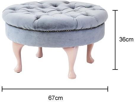 Round Footstool Green Velvet Upholstery image 6