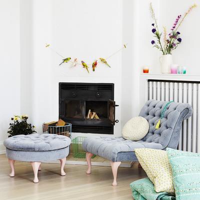 Round Footstool Green Velvet Upholstery image 7