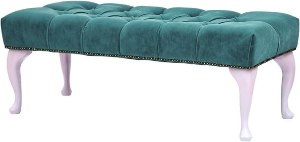 Rectangular Footstool Green Velvet Upholstery