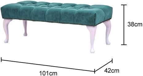 Rectangular Footstool Green Velvet Upholstery image 2