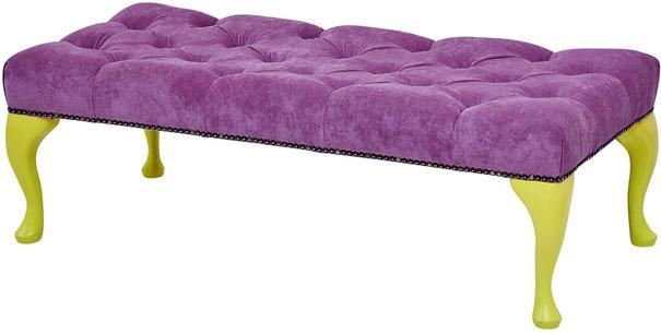 Rectangular Footstool Green Velvet Upholstery image 3