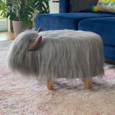 Gilbert the Grey Highland Cow Footstool image 2