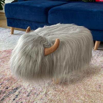 Gilbert the Grey Highland Cow Footstool image 3