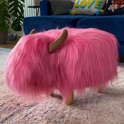 Pink the Highland Cow Footstool