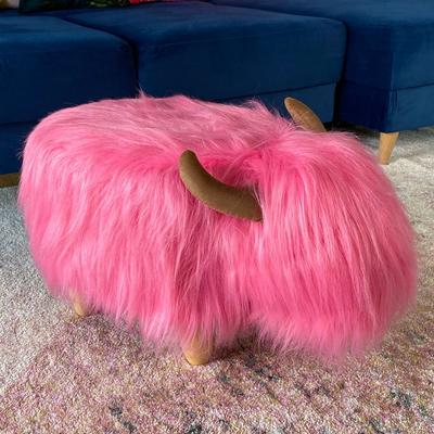 Pink the Highland Cow Footstool image 3