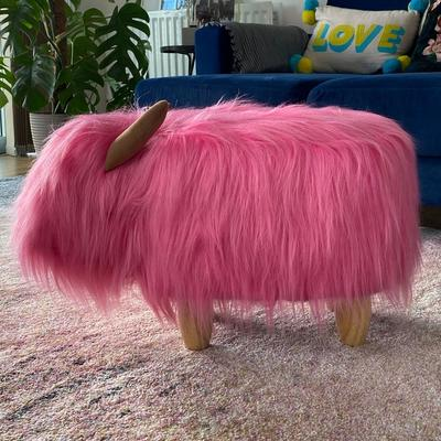Pink the Highland Cow Footstool image 4