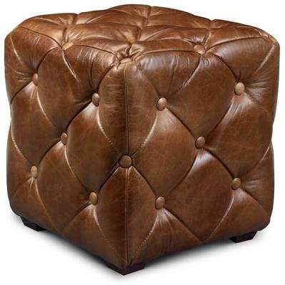 Buttoned Brown Leather Cube Footstool