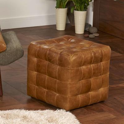 Brown Leather Patchwork Cube Footstool