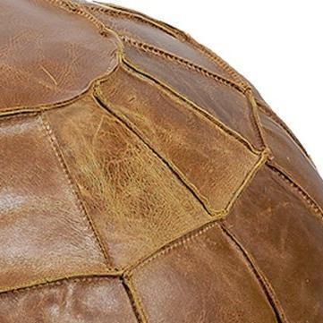 Brown Leather Pumpkin Pouffe Footstool image 2