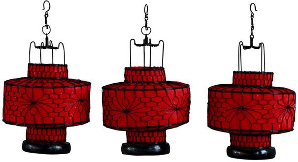 Red Circular Wire and Canvas Lantern