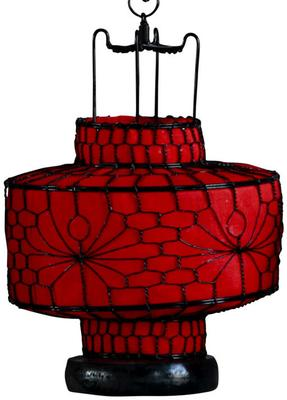 Red Circular Wire and Canvas Lantern image 2