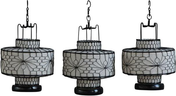 Wire and Canvas Lantern - White Circular