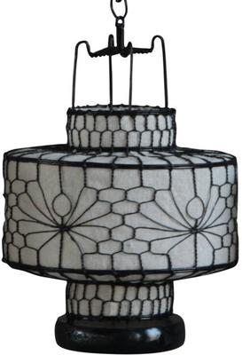 Wire and Canvas Lantern - White Circular image 2