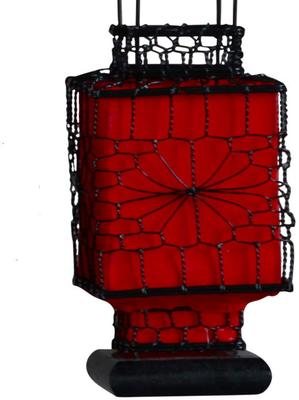 Wire and Canvas Lantern - Red Square image 2