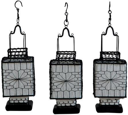 Wire and Canvas Lantern - White Square