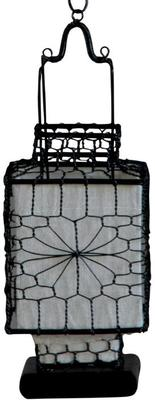 Wire and Canvas Lantern - White Square image 2