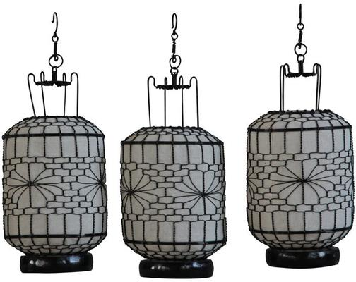 White Cylindrical Wire and Canvas Lantern