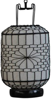 White Cylindrical Wire and Canvas Lantern image 2