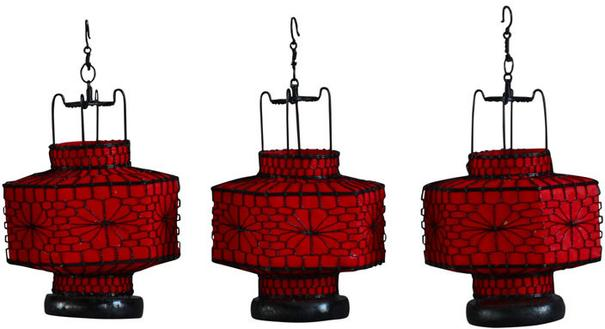Red Hexagonal Wire and Canvas Lantern