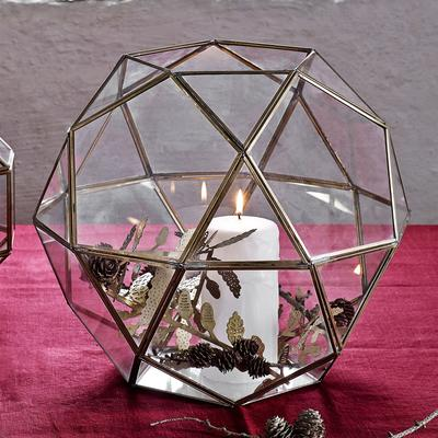 Large Polyhedron Lantern Metal and Glass