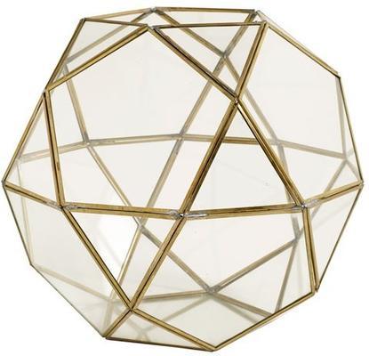 Large Polyhedron Lantern Metal and Glass image 3