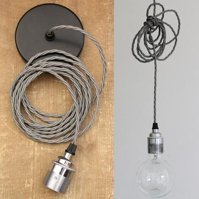 Nostalgia Lights Industrial style Edison Pendant Set - Plain Skirt - Chrome
