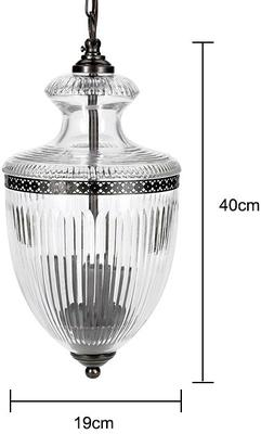 Grooved Glass Hanging Lamp Antique Style image 2