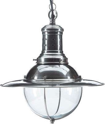 UFO Hanging Lamp Polished Metal and Glass