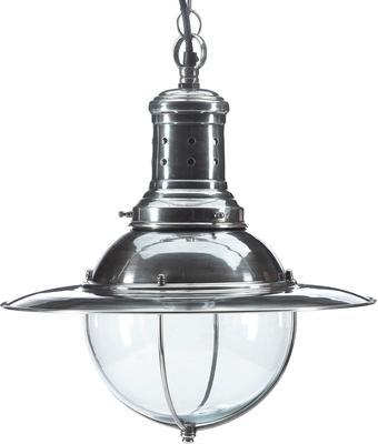 UFO Hanging Lamp Polished Metal and Glass