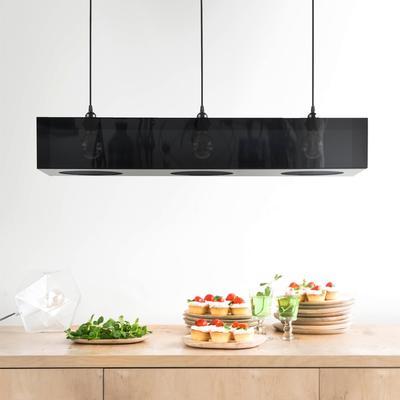 Plexiglass Black Triple Hanging Lamp for Breakfast Bar