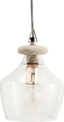 Glass Wood and Copper Pendant Lamp - Small or Large