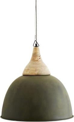 Nordic Dome Pendant Lamp Wood and Painted Green Shade