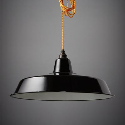 Nostalgia Lights Enamel Pendant Shade SET Black - Classic Lamp
