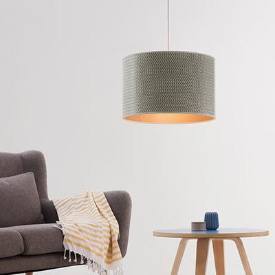 Herringbone grey drum shade image 3