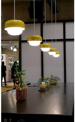 Aluminium and Glass Pendant Lamp in Yellow