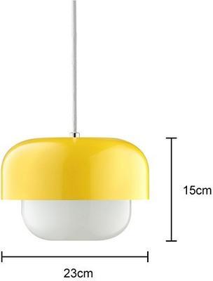 Aluminium and Glass Pendant Lamp in Yellow image 2