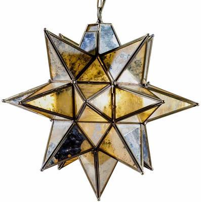 Antiqued Glass Star Pendant Lamp