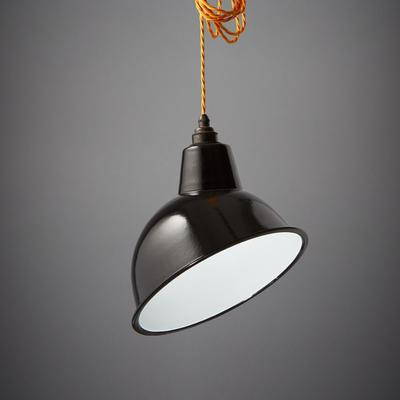 Nostalgia Lights Enamel Pendant Shade SET Black - Angled Cloche