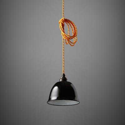 Nostalgia Lights Enamel Pendant Shade SET Black - Miniature Bell Lamp
