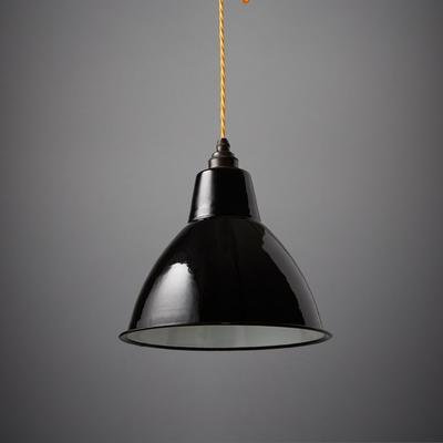 Nostalgia Lights Enamel Pendant Shade SET Black - Small Dome Lamp