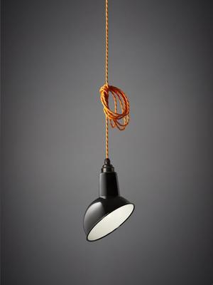 Nostalgia Lights Enamel Pendant Shade SET Black - Miniature Angled Cloche Lamp