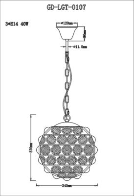 Colbert Crystal Globe Pendant Lamp Small image 5