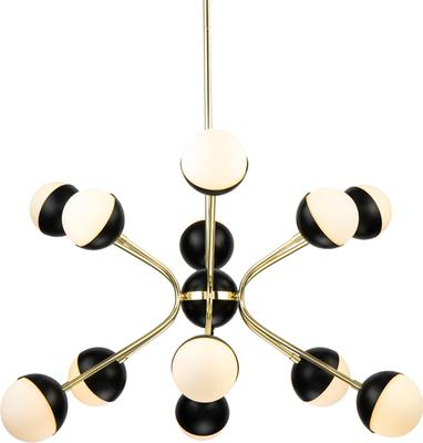 Colbert 9 Retro Pendant Lamp Glass and Brass