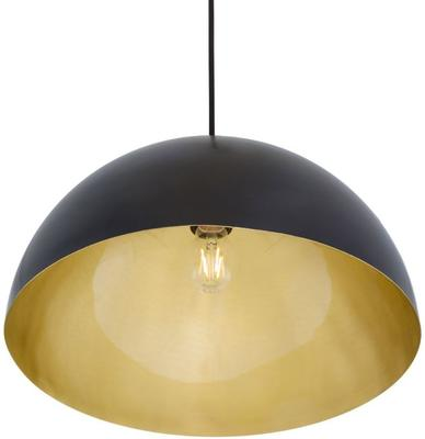 Avon Large Dome Pendant Black or White with Brass Interior 40cm image 3